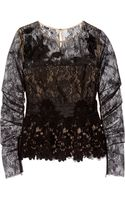 Oscar de la Renta Lace and Silk Chiffon Top