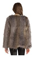 Naven Puffer Faux Fur Jacket in Brown - Lyst