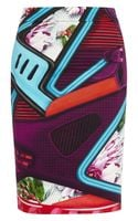 Mary Katrantzou Printed Stretchcotton Sateen Skirt - Lyst