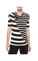 Carolina Herrera Striped Cowlneck Knit Top - Lyst