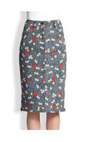 Opening Ceremony Printed Denim Pencil Skirt - Lyst