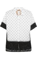 No 21 Polka-dot Cotton and Lace Shirt