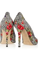 Oscar de la Renta Grace Printed Silk and Woolblend Pumps