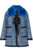 Marc Jacobs Rabbit Collar Embellished Tweed Jacket - Lyst