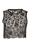 River Island Black Lace Sleeveless Crop Top