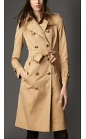 Burberry Long Military Detail Gabardine Trench Coat