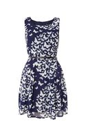 Izabel London Butterfly Print Belted Dress
