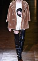 Carven Faux Fur Coat with Arrow Embroidery