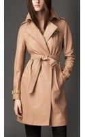 Burberry Midlength Lambskin Wrap Trench Coat - Lyst