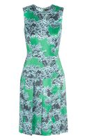 Jonathan Saunders Pfeifer Laceprint Satin Dress - Lyst