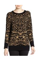 Torn By Ronny Kobo Animal Patterned Metallic Sweater