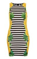Topshop Lemon Stripe Bodycon Dress - Lyst