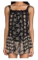 Anna Sui Madeleine Mixed Prints Lace Dress in Black - Lyst