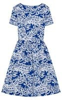 Oscar de la Renta Printed Stretchcotton Dress
