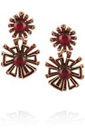Oscar de la Renta Goldtone Crystal and Cabochon Clip Earrings - Lyst
