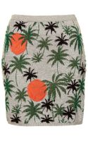Topshop Palm Tree Lurex Skirt - Lyst