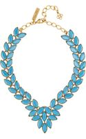 Oscar de la Renta Navette Goldplated Cabochon Necklace