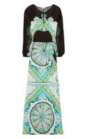 Emilio Pucci Printed Silkcharmeuse and Chiffon Maxi Dress