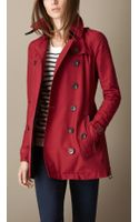 Burberry Short Leather Trim Faille Trench Coat