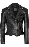 Muubaa Xera Quilted Suede and Leather Biker Jacket