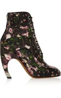 Givenchy Floral Print Leather Ankle Boots