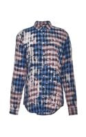 MSGM Linen and Cotton Blend Plaid Shirt - Lyst