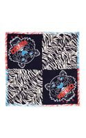 Kenzo New Tiger Head Stripes Scarf Blueredblack