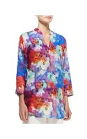 Caroline Rose Floral Watercolors Linen Tunic - Lyst