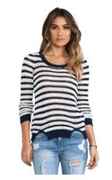 Joe's Jeans Crochet Stripe Sweater in Navy - Lyst