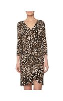 BCBGMAXAZRIA Petal Front Tie Dress Coffee Bean Combo - Lyst