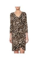 BCBGMAXAZRIA Petal Front Tie Dress Coffee Bean Combo