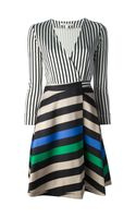 Diane Von Furstenberg Contrast Stripe Wrap Dress - Lyst