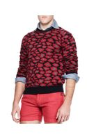 Michael Bastian Leopardprint Knit Sweater