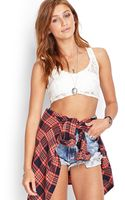 Forever 21 Racerback Lace Crop Top - Lyst