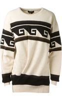 Isabel Marant Black and Ivory Printed Samuel Pullover - Lyst