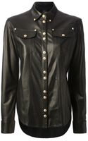 Balmain Leather Shirt Jacket - Lyst