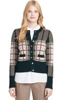 Brooks Brothers Cashmere Plaid Cardigan - Lyst