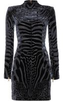 Balmain Velvet and Silkchiffon Mini Dress - Lyst