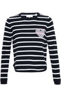 Chinti & Parker Striped Cashmere Heart Jumper - Lyst
