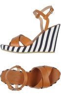 Armani Leather Strap Canvas Wedge Sandals - Lyst