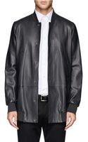 Paul Smith Long Leather Bomber Jacket - Lyst