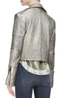 J Brand Aiah Metallic Leather Moto Jacket - Lyst