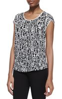 Halston Heritage Silk Printed Scoopneck Top Black Fading Dots - Lyst