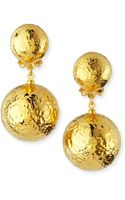 Jose & Maria Barrera Hammered Gold Plated Drop Clip-on Earrings - Lyst