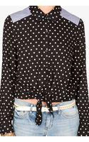 Forever 21 Contrast Polka Dot Shirt - Lyst