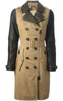 Burberry Brit Leather Detail Biker Trench Coat - Lyst