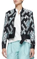 3.1 Phillip Lim Geometric-print Textured Jacket W Leather Belt - Lyst