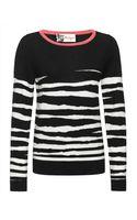 Jaeger Colour Block Zebra Sweater - Lyst