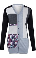 Peter Pilotto Patch Print Knit Cardigan - Lyst