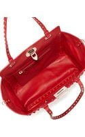 Valentino Rockstud Mini Leather Studded Tote Bag Red - Lyst